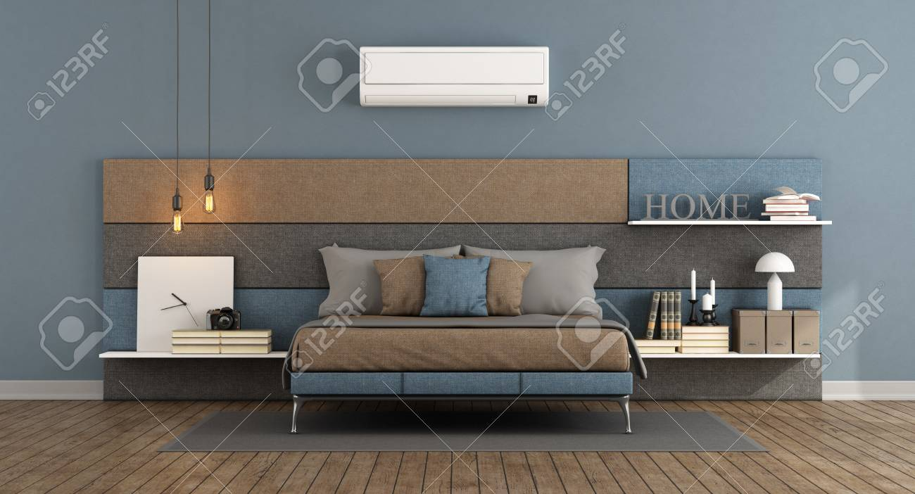 Modern master bedroom with bed headboard in fabric with shelves..