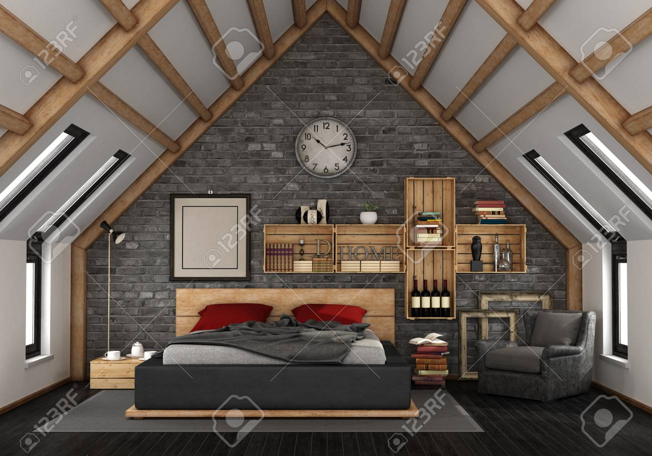 Mansard With Master Bedroom In Rustic Style 3d Rendering Stock