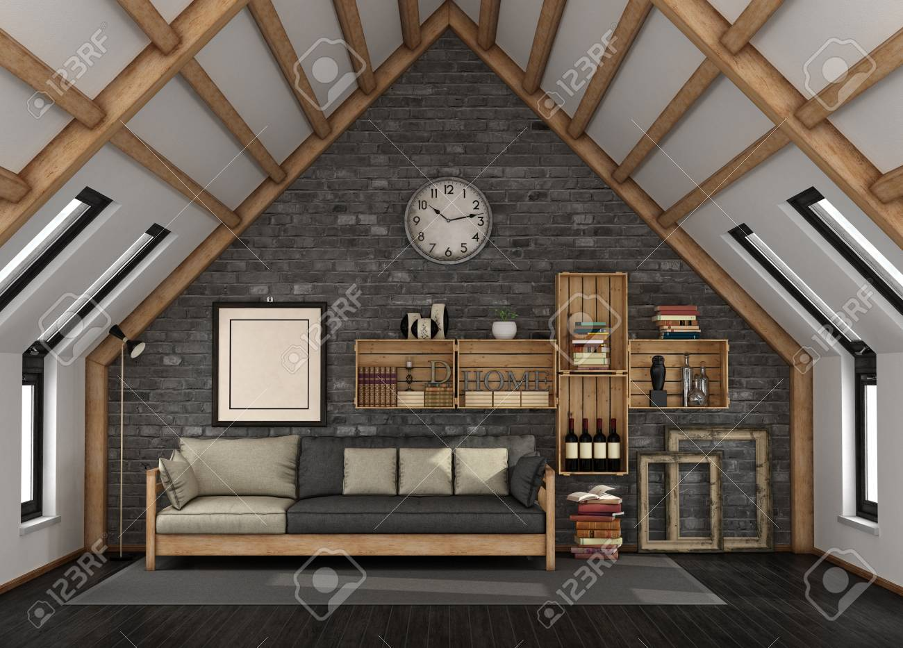 Living Room In The Mansard With Sofa And Bookcase In Rustic Style