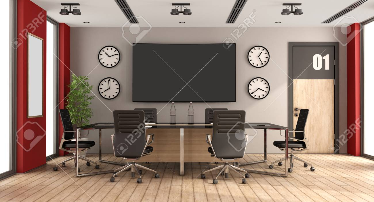 Modern boardroom with meeting table,office chair and large screen..