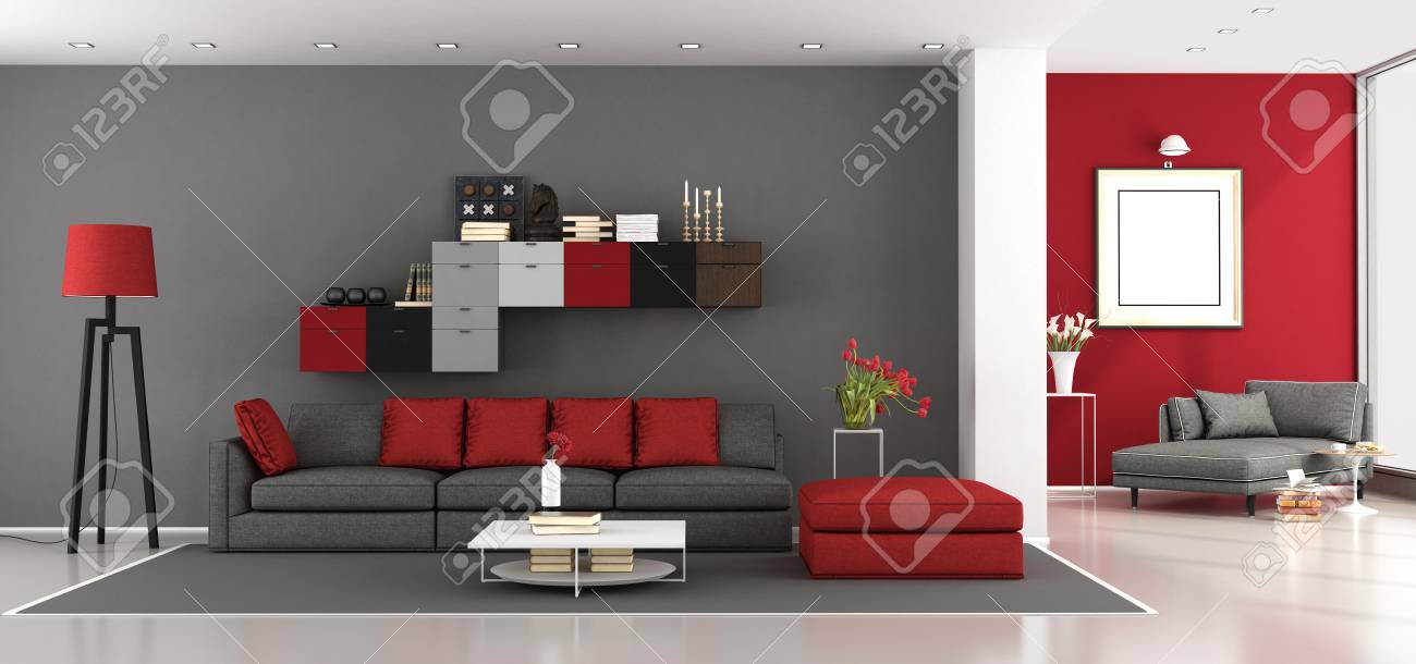 Red And Gray Modern Living Room With Sofa And Chaise Lounge On