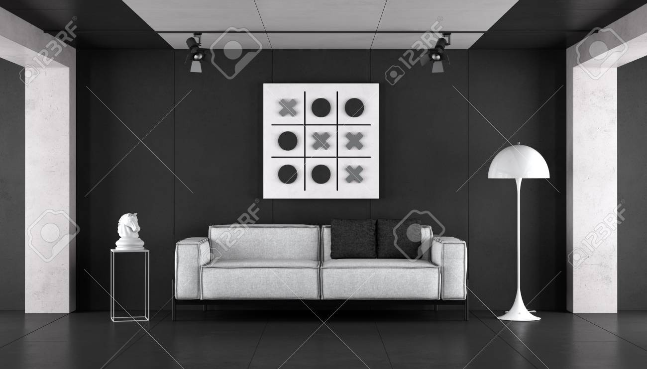 Minimalist Living Room With Modern Sofa And Floor Lamp Against Stock Photo Picture And Royalty Free Image Image 103755230