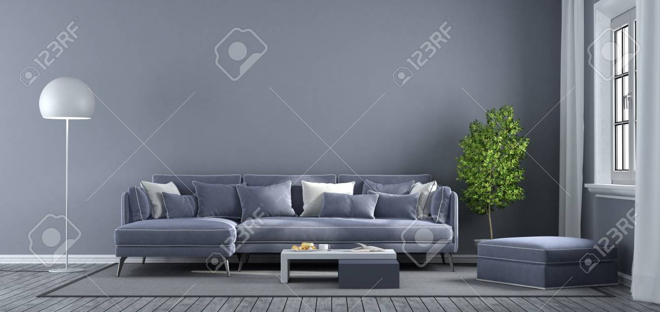 Modern Purple Living Room With Sofa Footstool And Window 3d