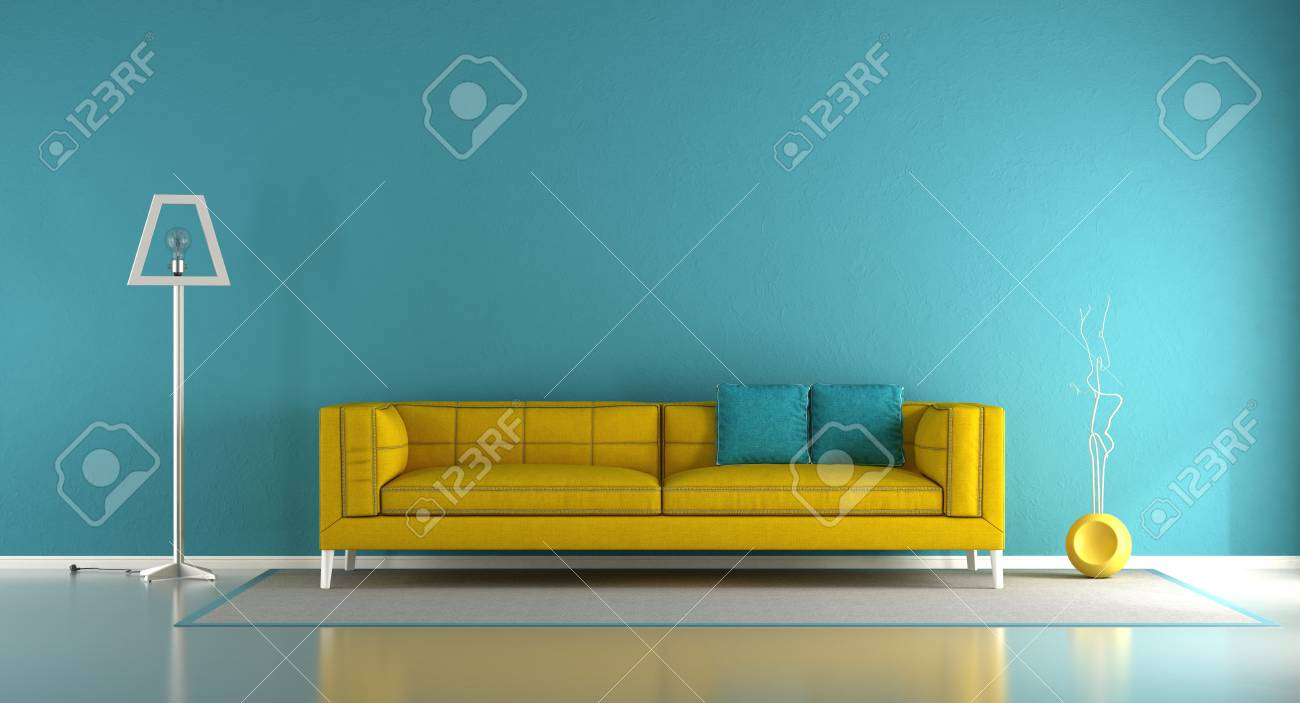 Blue and yellow minimalist living room with fabric sofa and floor..