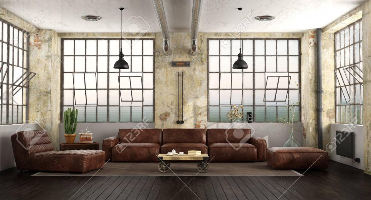 Living Room In A Loft With Leather Sofa Chaise Lounge And Large Stock Photo Picture And Royalty Free Image Image 105149909