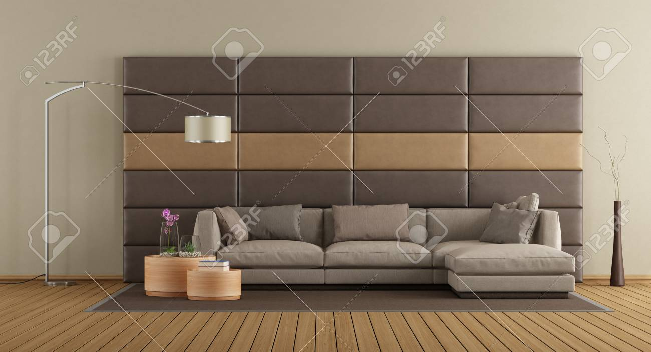Modern Living Room With Brown Sofa Against Leather Panels 3d