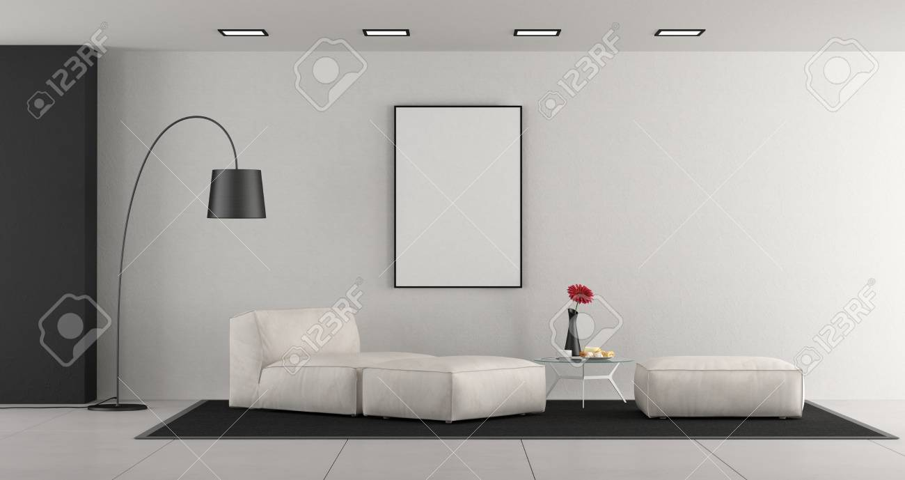Banque dimages white minimalist living room with leather chaise loungefootstools and blank frame 3d rendering
