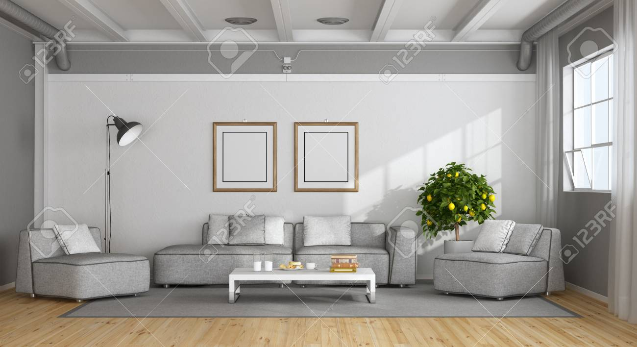 Stock Photo   White And Gray Modern Living Room In A Loft   3d Rendering