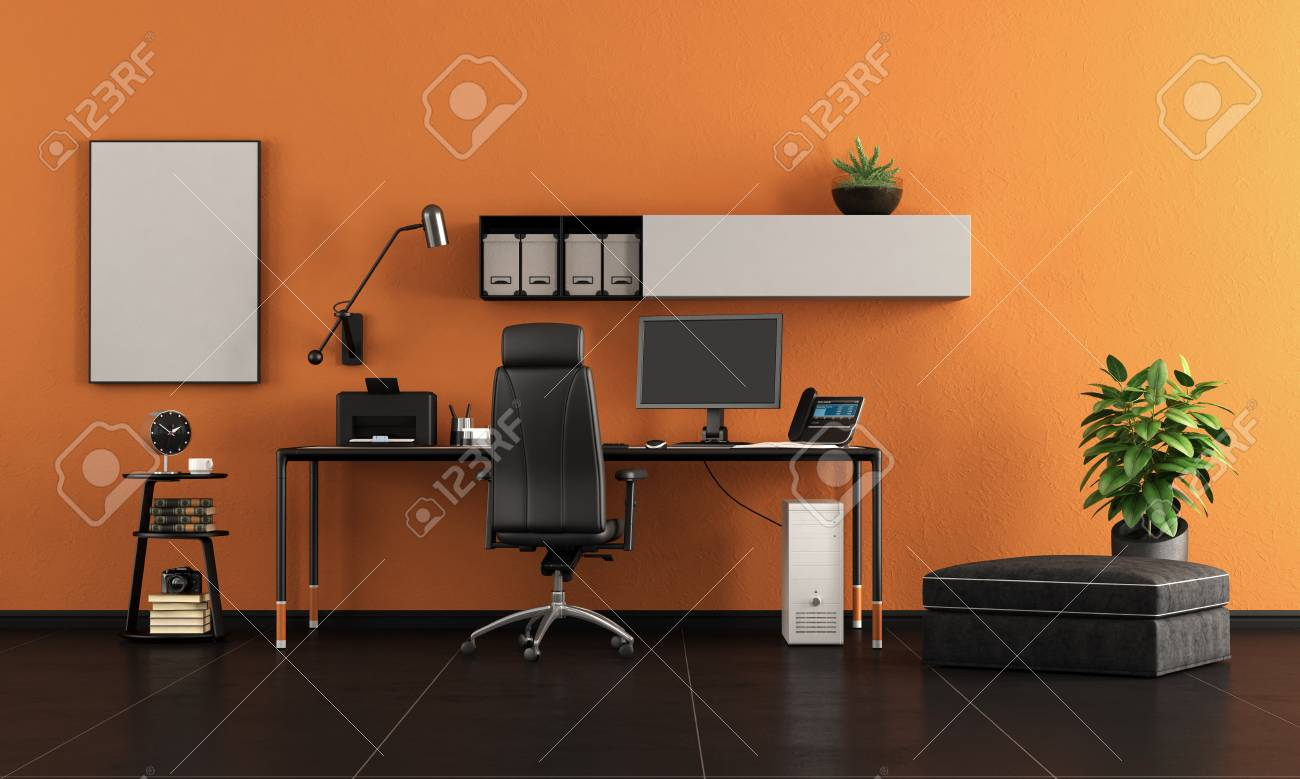 Black And Orange Home Office With Minimalist Desk With Pc 3d Stock Photo Picture And Royalty Free Image Image 114419182