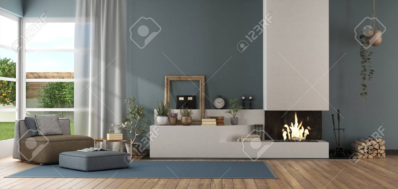 Blue Modern Living Room With Fireplace And Chaise Lounge 3d Stock Photo Picture And Royalty Free Image Image 121499191