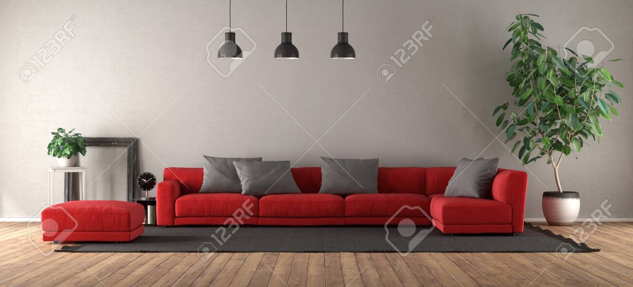 Modern Living Room With Red Sofa On Black Carpet 3d Rendering Royalty Vrije Foto Plaatjes Beelden En Stock Fotografie Image 121499234