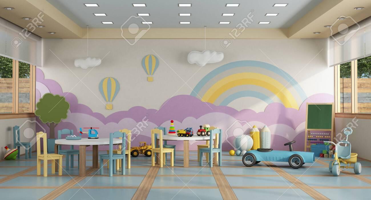 Phenomenal Colorful Kindergarten Class Without Childs School Desk Chair Toy Inzonedesignstudio Interior Chair Design Inzonedesignstudiocom