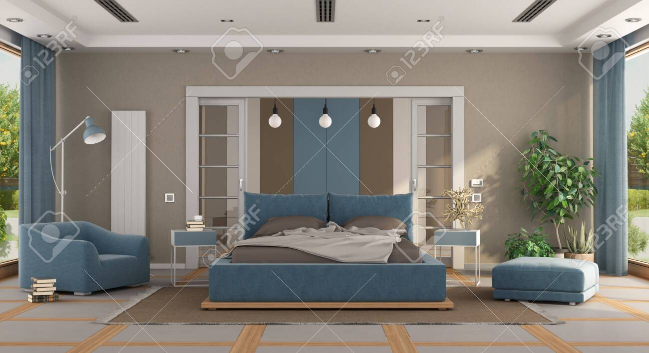 Astonishing Luxury Blue And Brown Master Bedroom With Double Bed Armchair Footstool Pabps2019 Chair Design Images Pabps2019Com