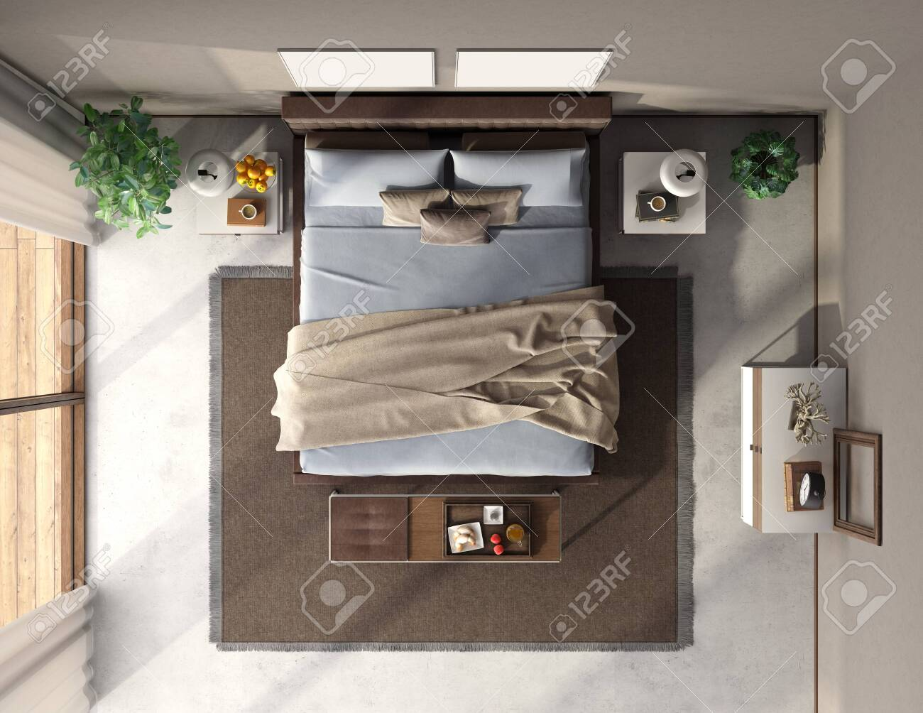 Top View Of A Modern Master Bedroom With Double Bed Bench And Stock Photo Picture And Royalty Free Image Image 143953830