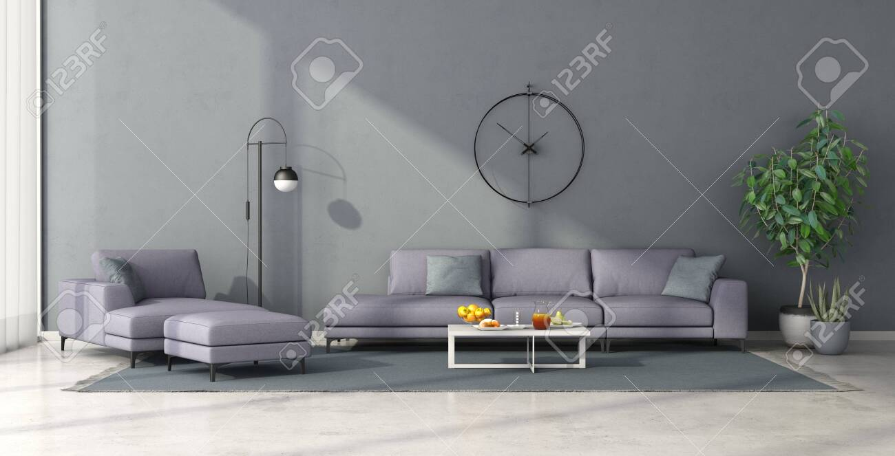 Minimalist Living Room With Lilac Sofa And Chaise Lounge On Clear Stock Photo Picture And Royalty Free Image Image 148156266