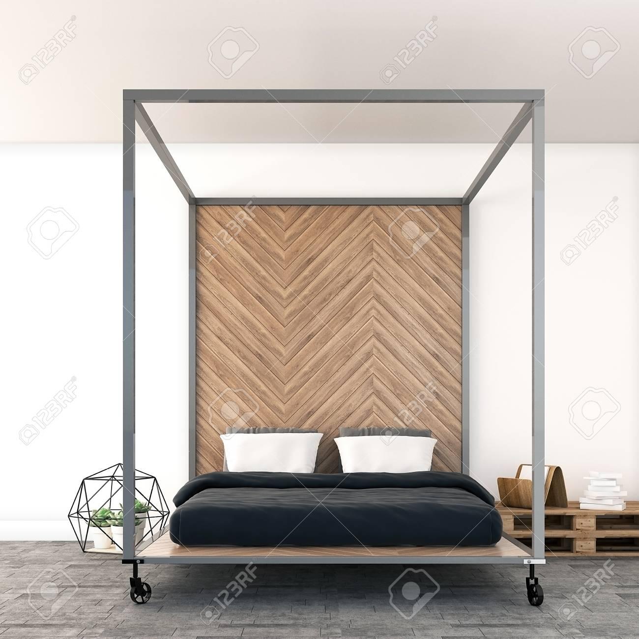 Minimal Industriële Slaapkamer, 3D-rendering Royalty-Vrije Foto ...