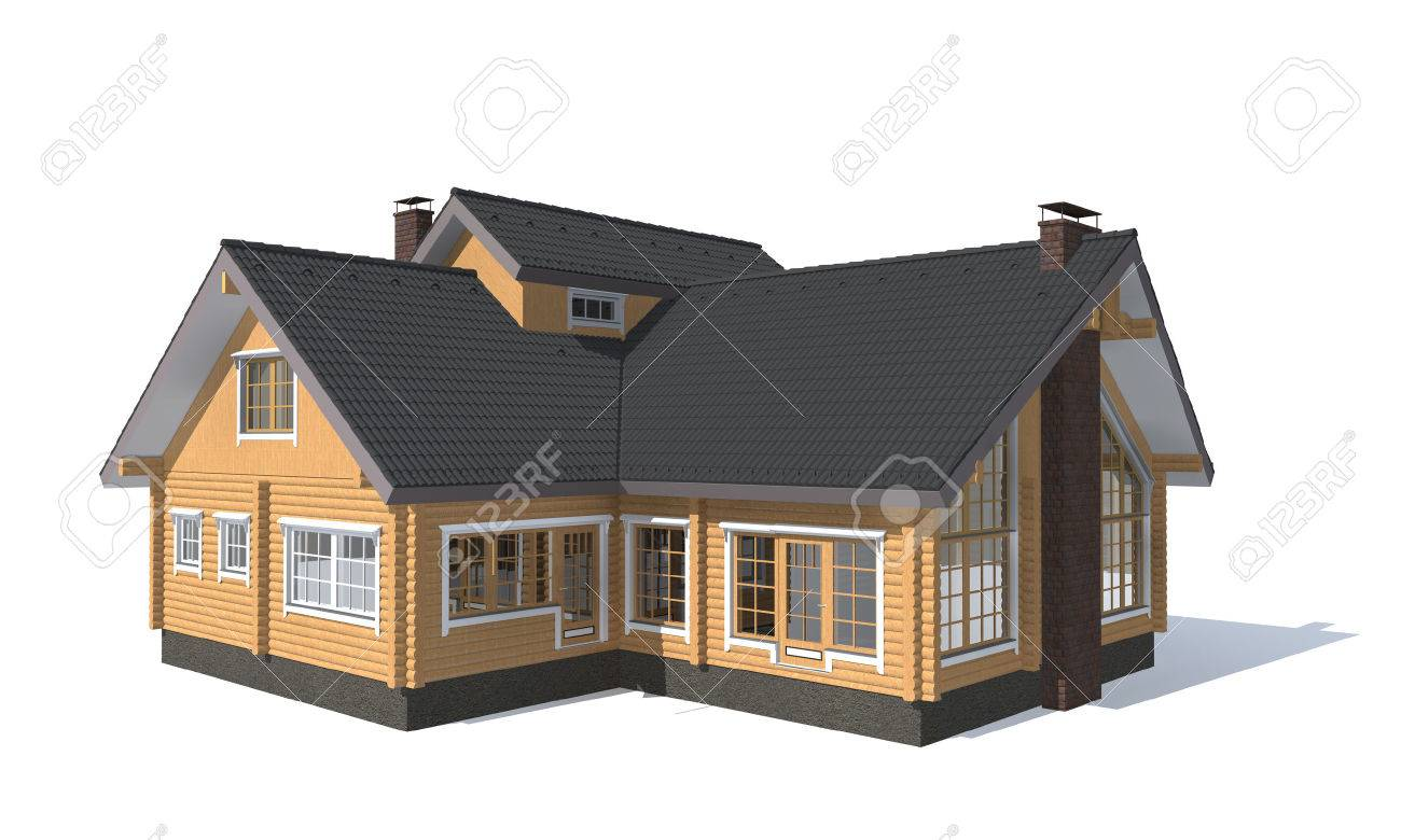 Wooden house 3d architecture model house isolated in white