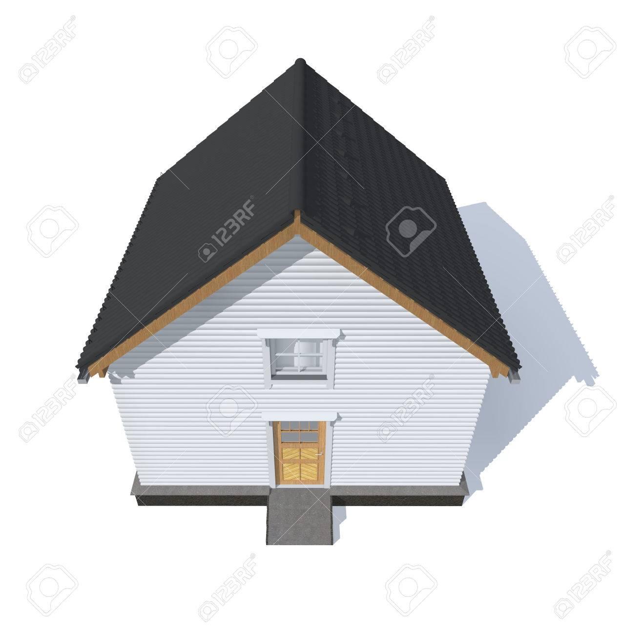 3D Architektur Modell Haus Grau Isoliert In Weiß Standard Bild   41470083