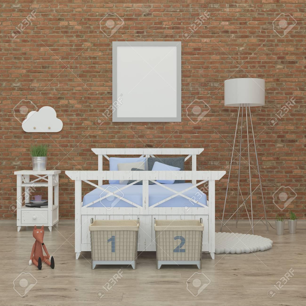 Imagen Representacin 3d Interior Nios Dormitorio Con Pared De
