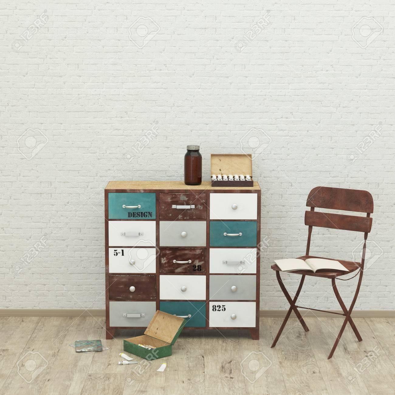 Loft Style Fond Intérieur Moderne Avec Chaise Peinture Brosse Mur De Brique Rendu 3d