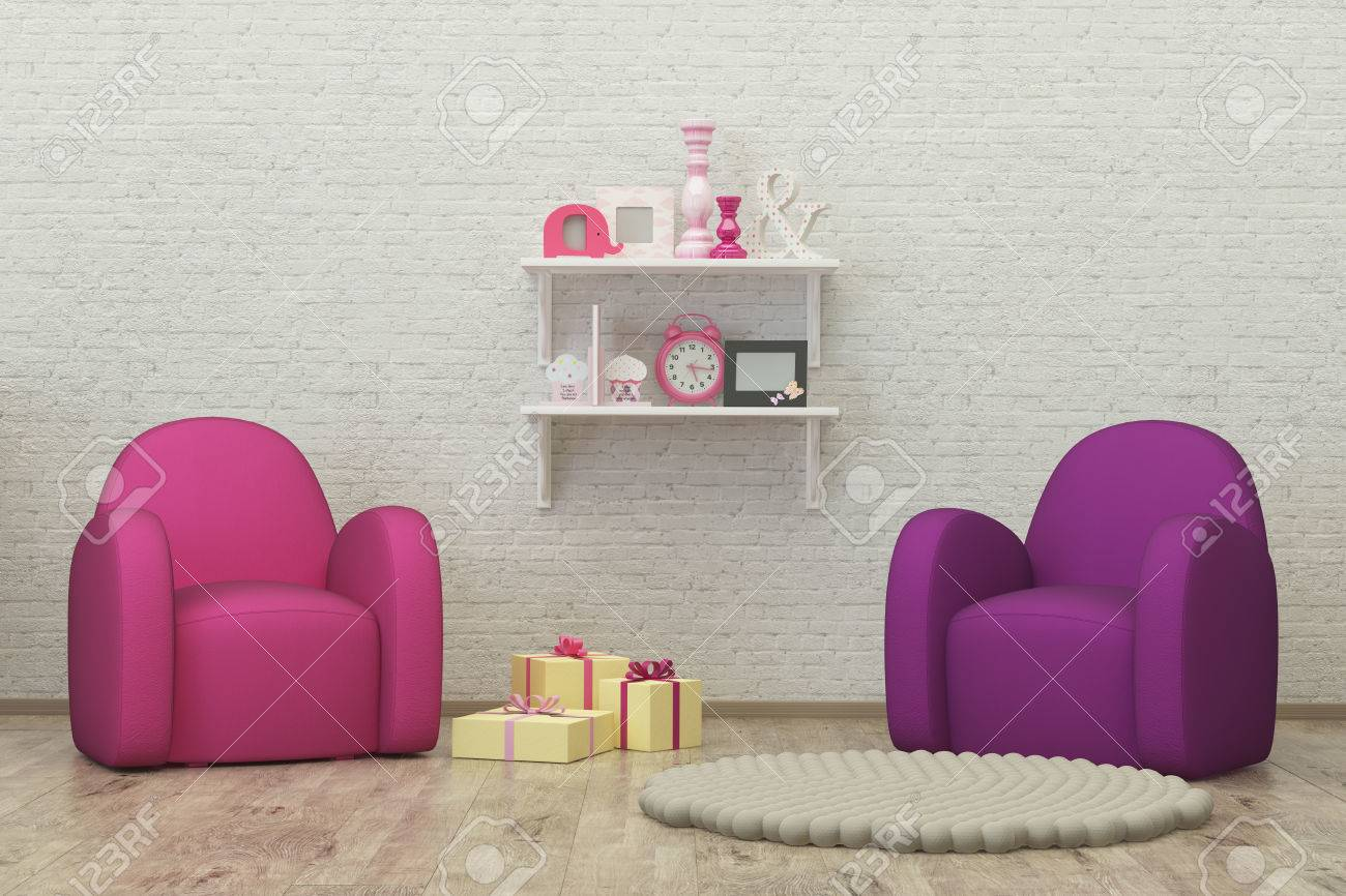 Kids Room Interior 3d Render Image With Colorful Armchairs, Presents And  Decoration Stock Photo