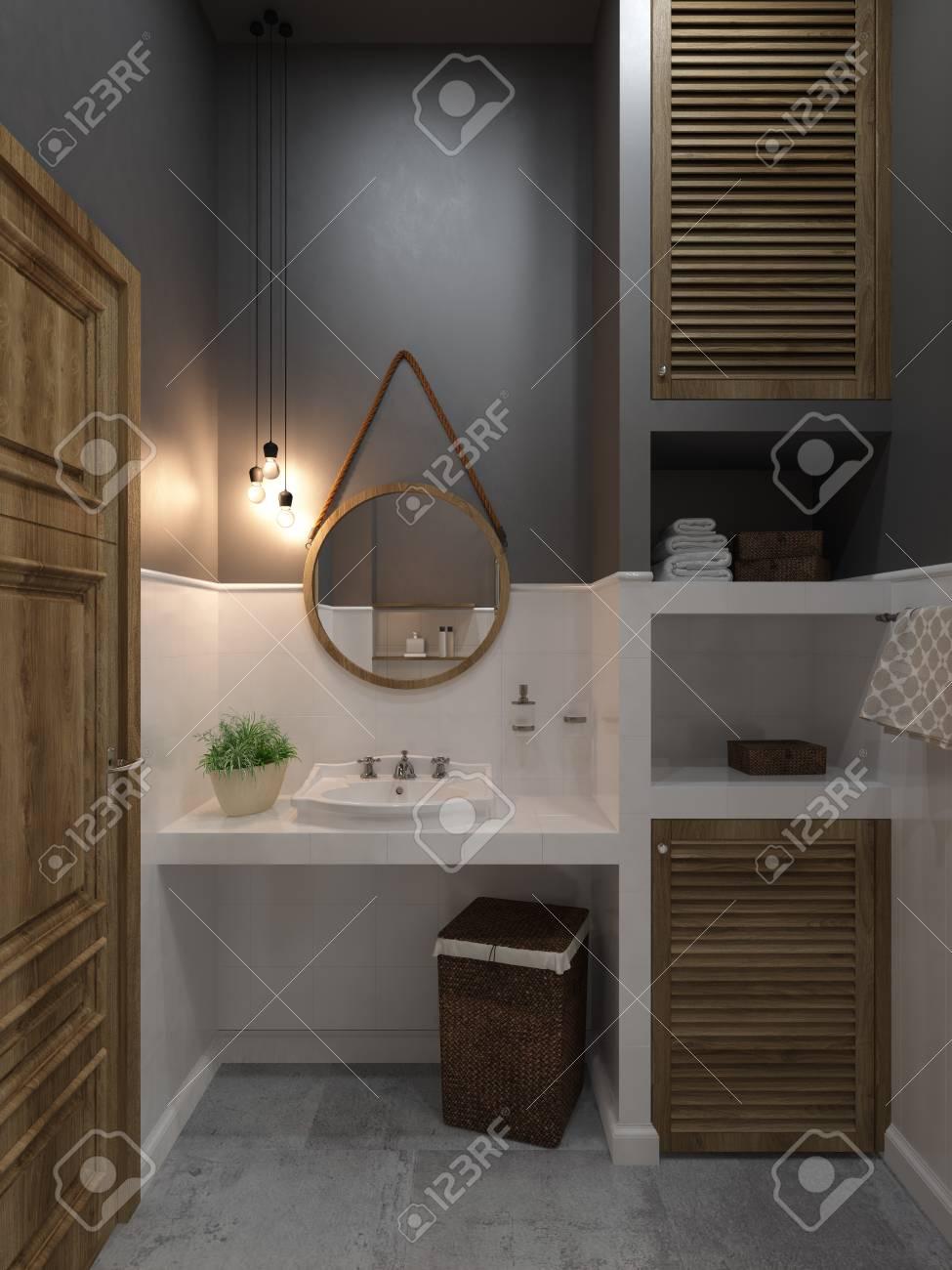 Badezimmer Modernen Stil. Compromising Mit Holz Und Beton, Perfekt ...