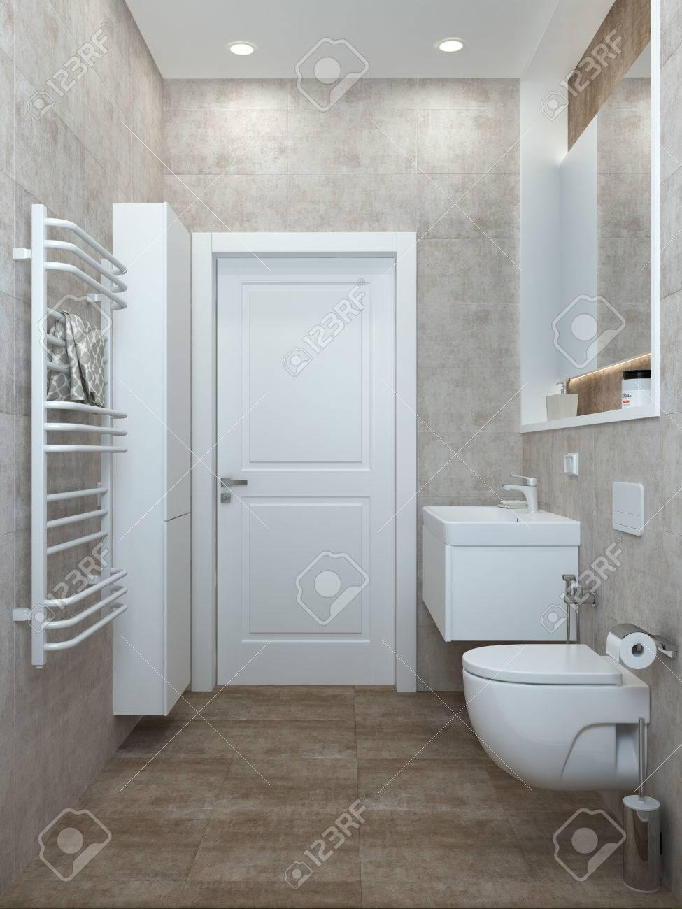 Badezimmer Modern In Pastellfarben Fur Ein Buro Oder Haus 3d Ubertragen Lizenzfreie Fotos Bilder Und Stock Fotografie Image 55431231