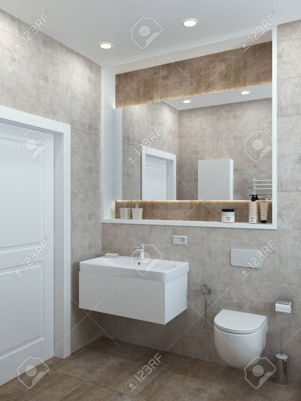 Bathroom Modern Style In Pastel Colors For A Office Or House 3D Render Stock Photo