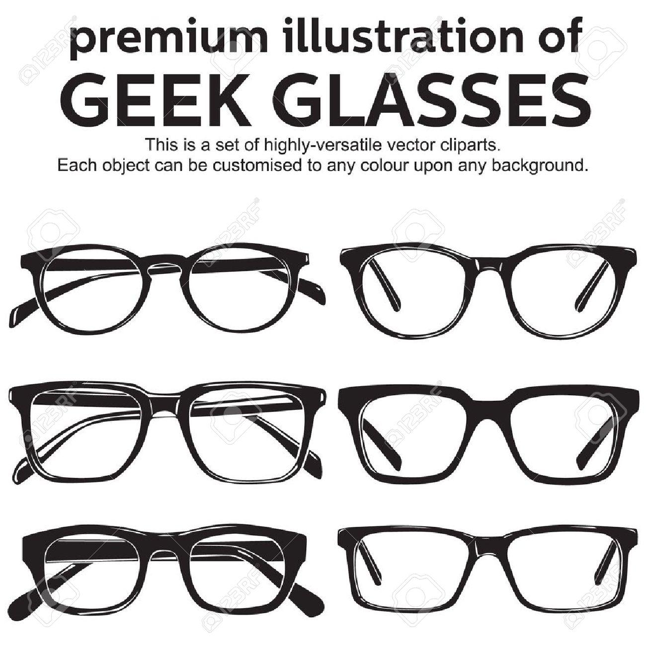 Gafas De Montura Metálica, Geek, Estilo Vintage Clipart ...
