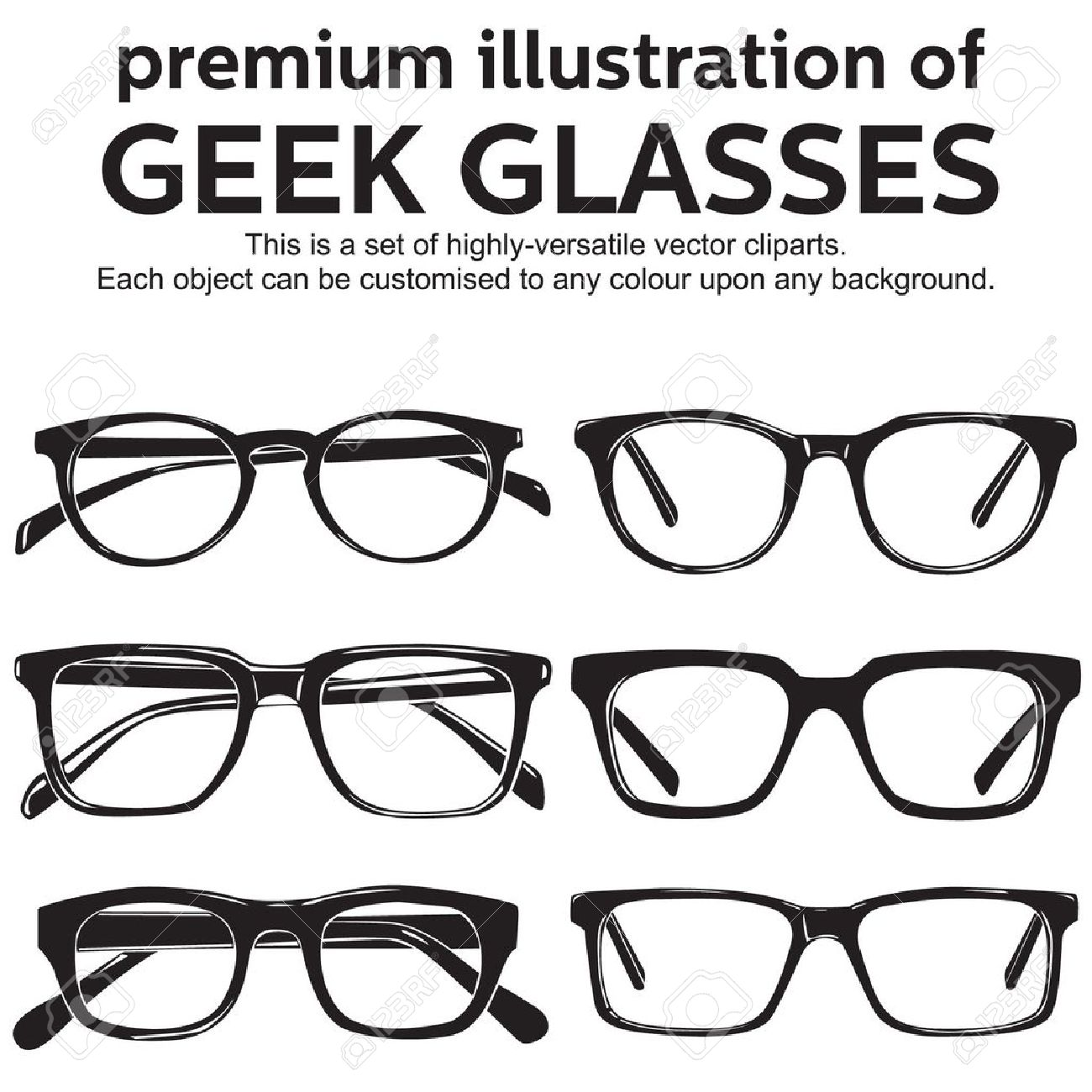 fashion style official site sale usa online Metal Framed Geek Glasses Vintage Style Clipart Royalty Free ...