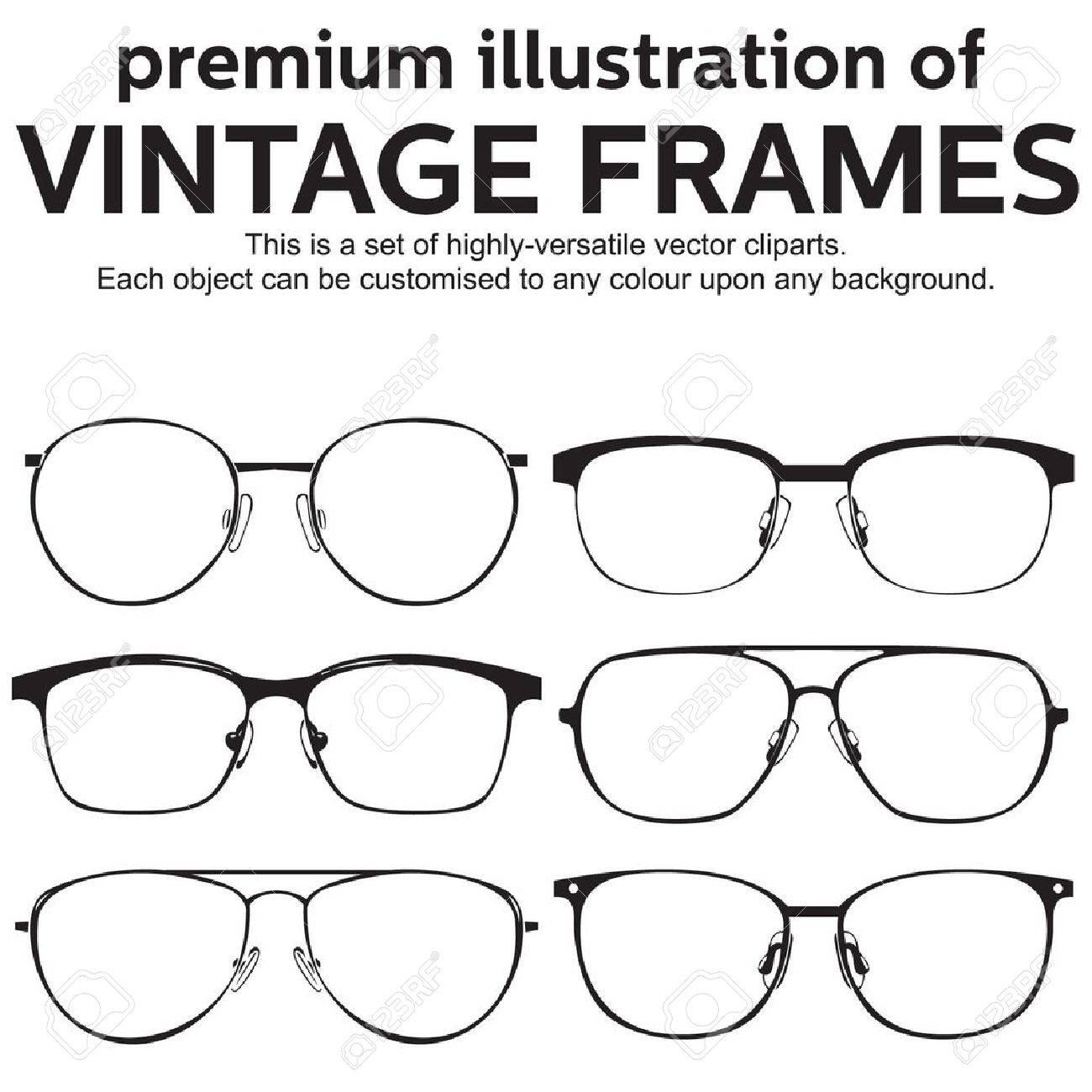 thin metal framed geek glasses vintage style Stock Vector - 19826020
