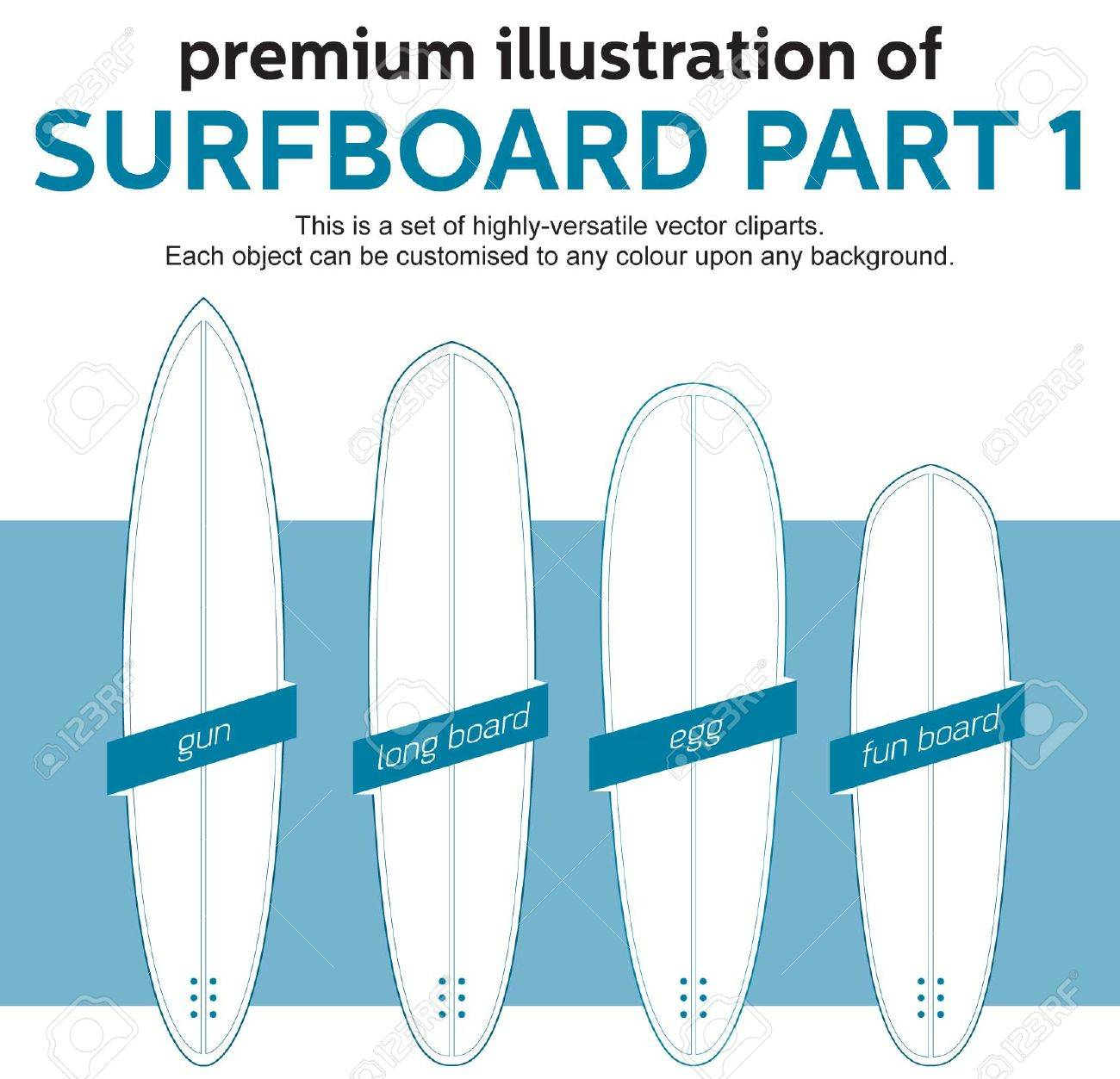 blank surfboard template part 1 royalty free cliparts vectors and
