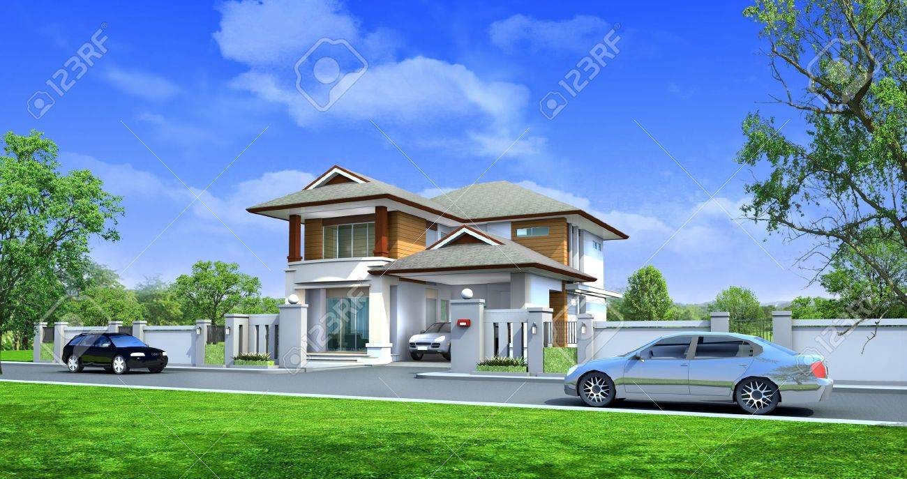 3d rendering, Exclusive two floor tropical modern house on the nature Stock Photo - 9972233