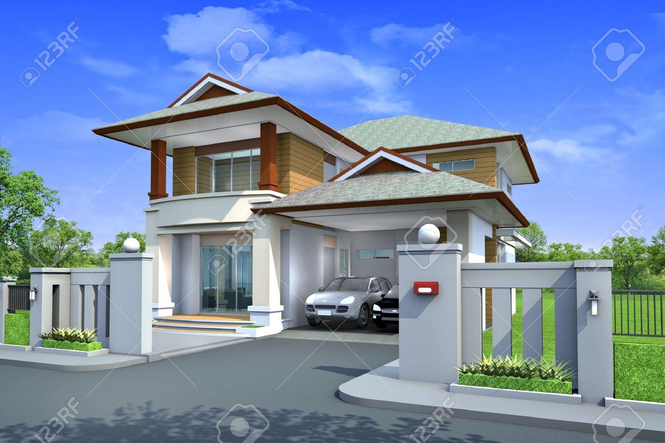 3D-endering, xklusive Zwei tagen ropischen Moderne Haus uf ... size: 1300 x 866 post ID: 7 File size: 0 B