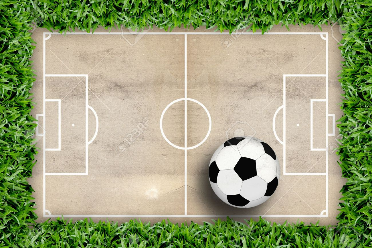 Soccer Field Pattern And Football In Green Grass Frame Stock Photo ...