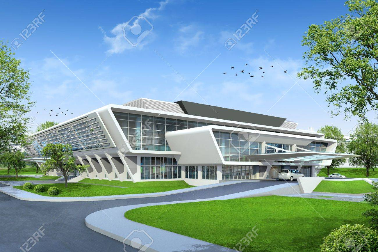 Modern Architecture Render 3d render of building stock photo, picture and royalty free image