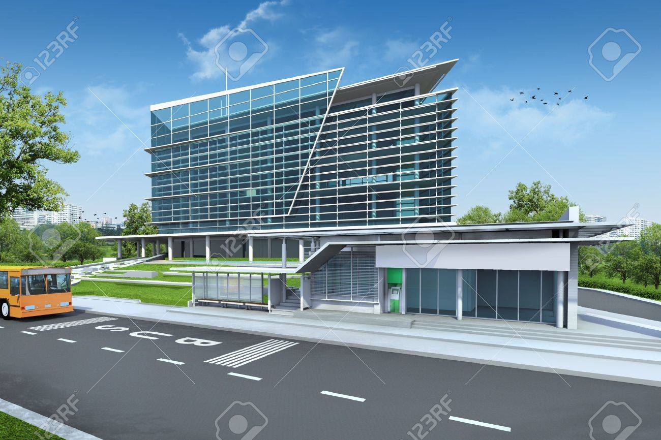 3D render of building Stock Photo - 14207183