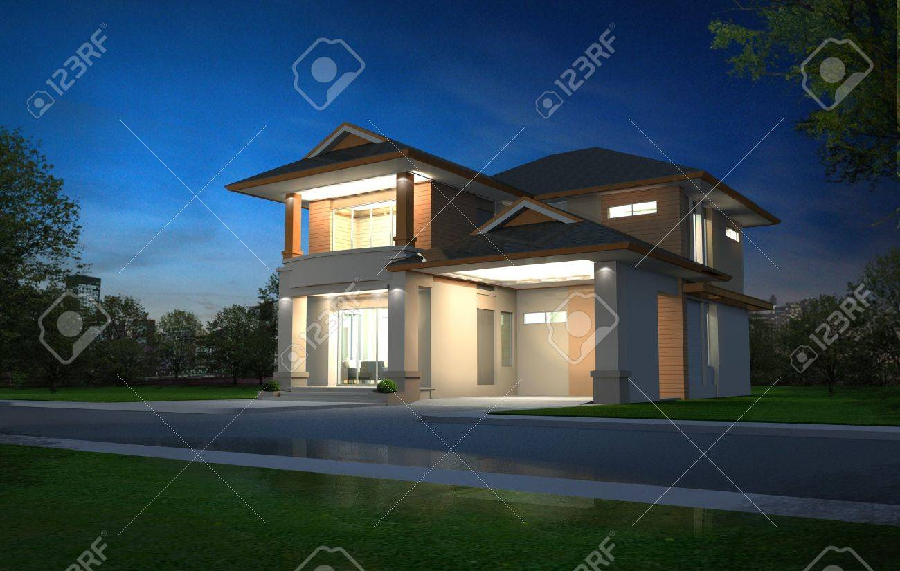 3d rendering in night exclusive two floor tropical modern house on the nature stock photo