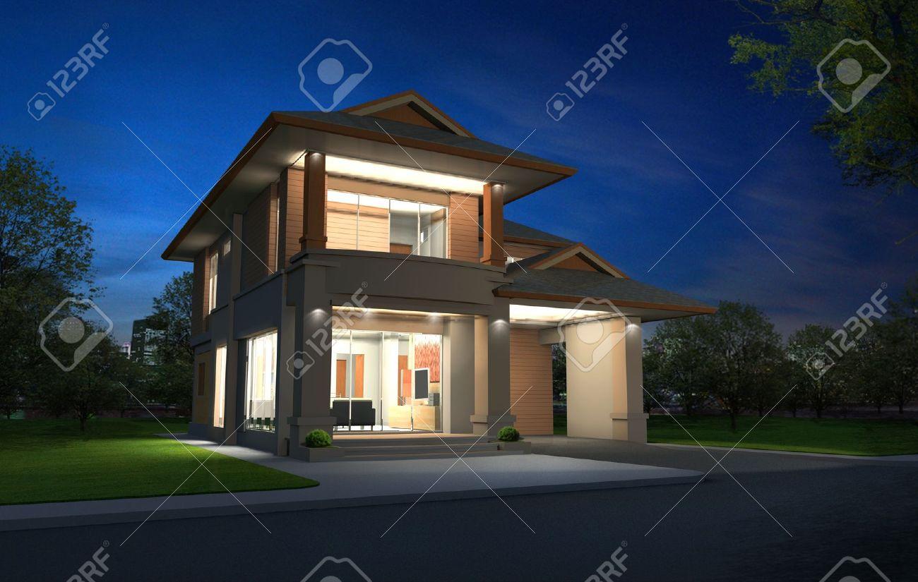 Rendu 3D Dans La Nuit, Exclusif étage Deux Tropicale Maison Moderne ...