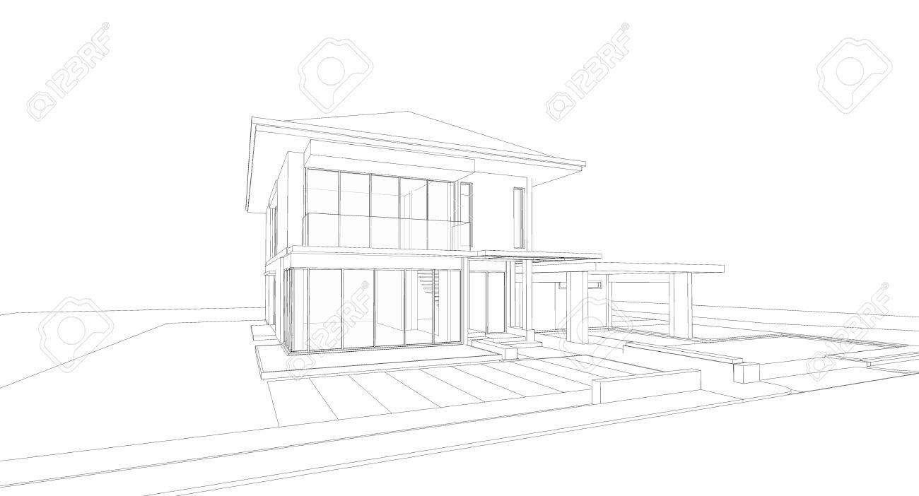 Wireframe of house Stock Photo - 15311971