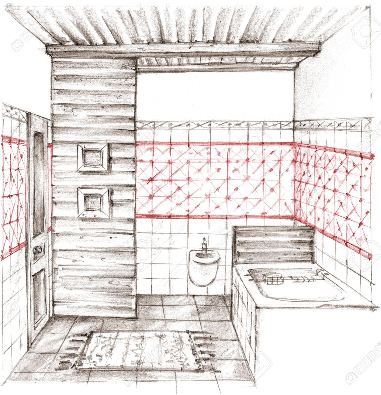 Dessin Salle De Bain dessin au crayon d'un intérieur de salle de bain classique sur fond blanc