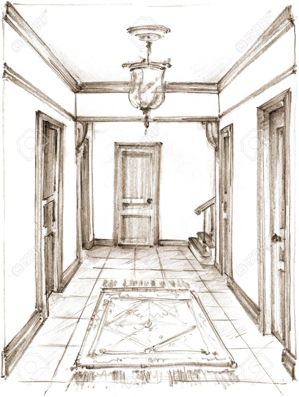 Pencil drawing of a classic hallway interior on white background stock photo 92161000