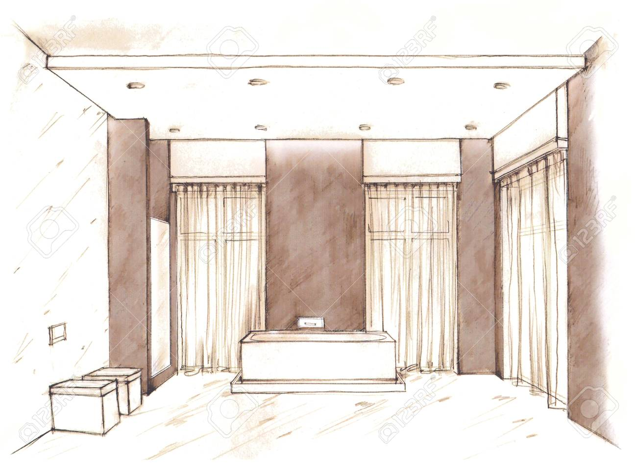 Hand Drawn Sketch Of A Modern Bathroom Interior On White Background Stock Photo