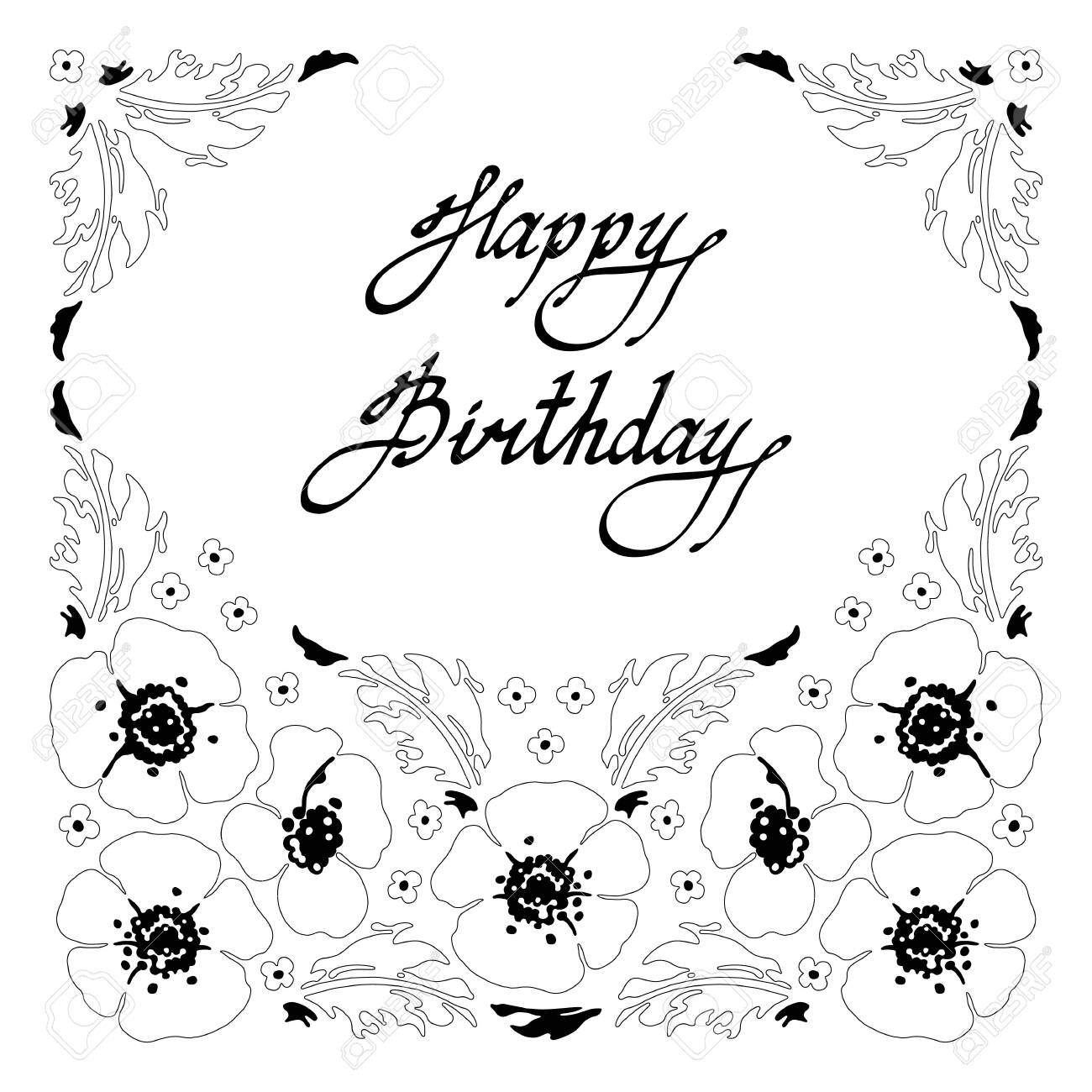 Happy Birthday Card. Black and white sketch of herbs and wildflowers..