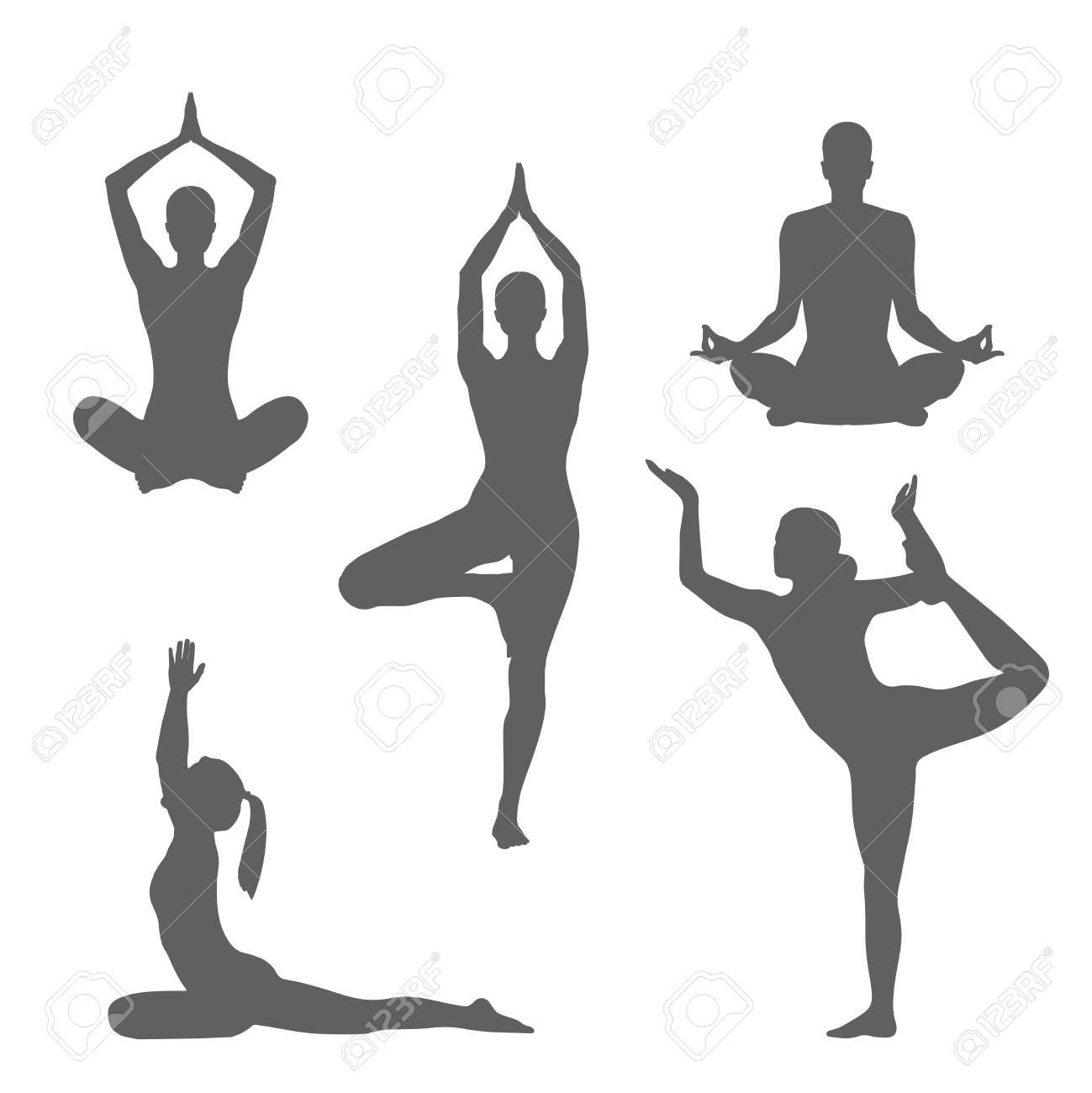 Set symbols yoga poses. Women silhouettes in different poses..
