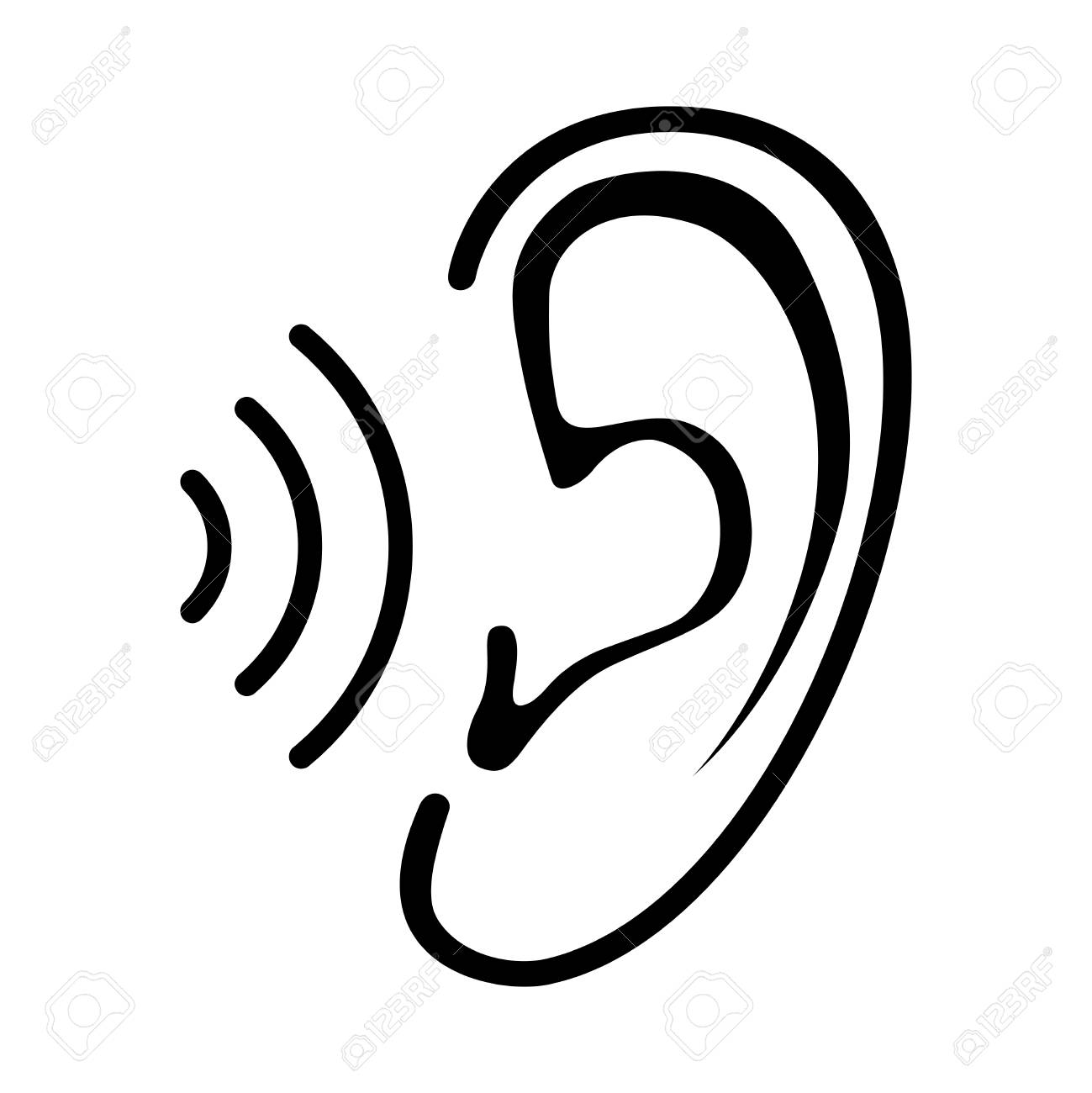 Ear icon with sound wave. Isolated sign on white background. Symbol for graphic and web design. Vector illustration - 117307049