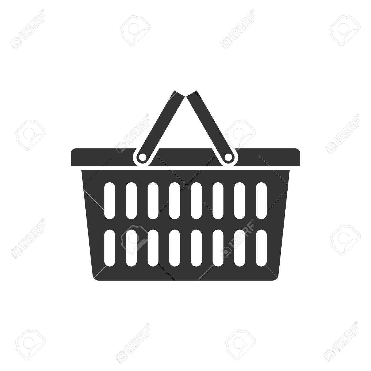 Shopping basket graphic icon. Food basket sign isolated on white background. Vector illustration - 154779123