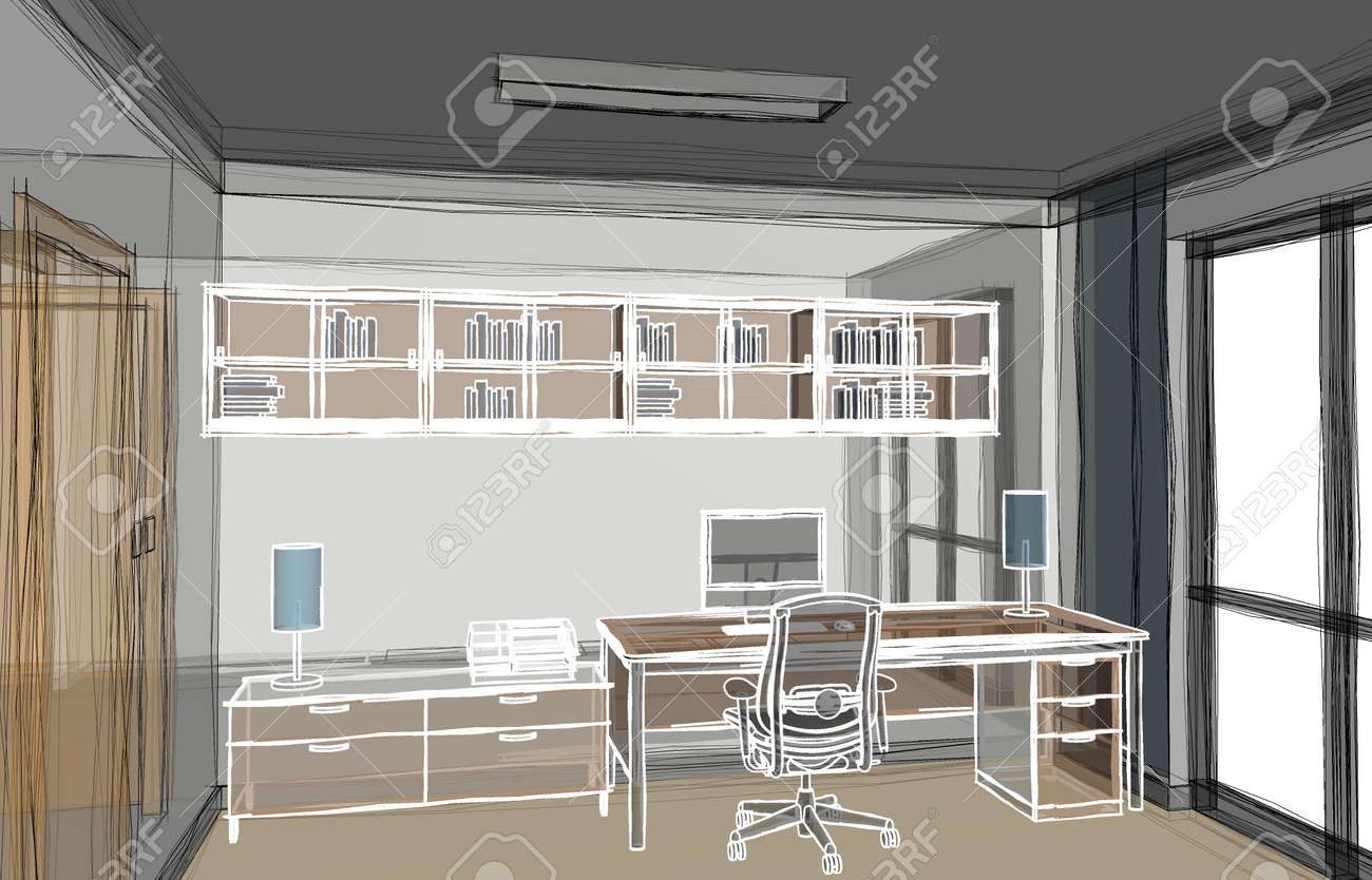 Abstract 3d illustration of a home-office work area with transparent walls and white outlined furniture drawing. Scene looking from left corner. - 159904436