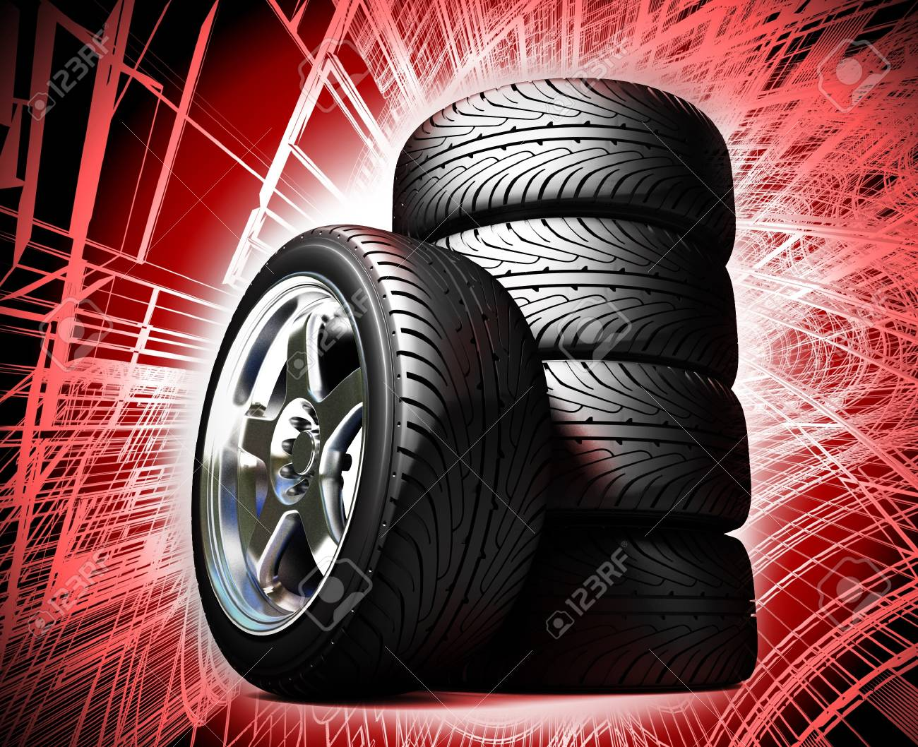 Wheels for the sports car Stock Photo - 7325270
