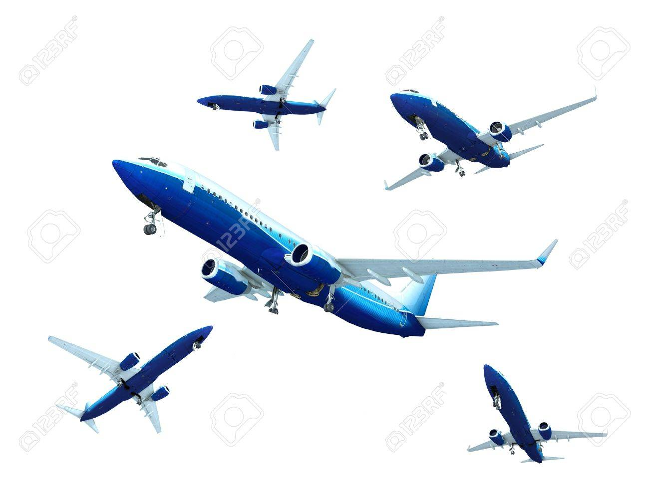 Jet airplane landing, isolated on white Stock Photo - 7324664